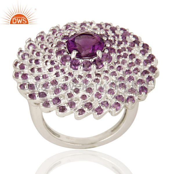 925 Sterling Silver Amethyst Gemstone Round Cut Cluster Flower Cocktail Ring
