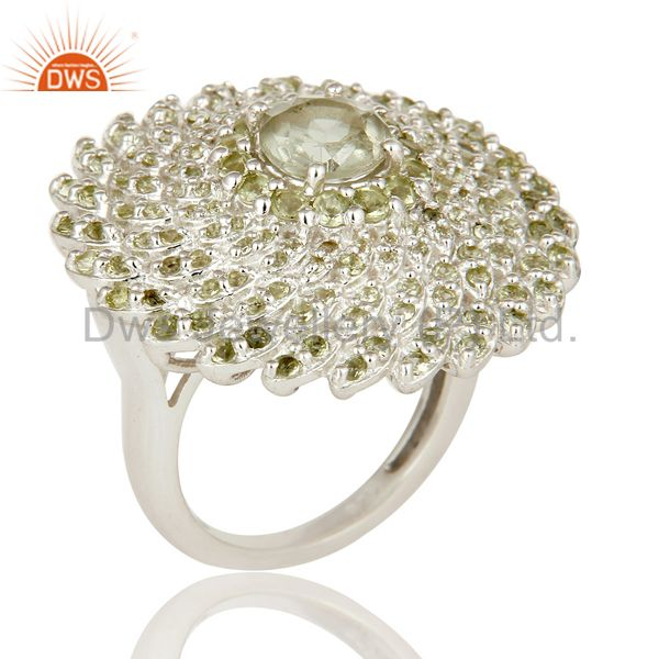 Designer Sterling Silver Green Amethyst and Peridot Gemstone Cocktail Ring