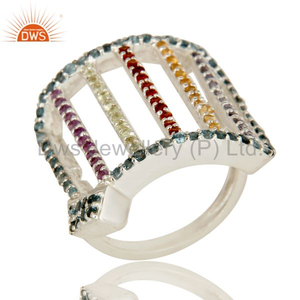 925 Sterling Silver Cluster Multi Colored Gemstone Designer Dome Ring
