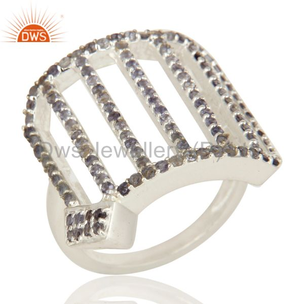 925 Sterling Silver Pave Set Iolite Gemstone Designer Dome Ring