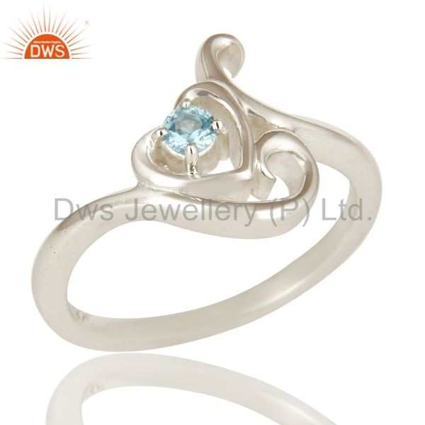 925 Solid Sterling Silver Natural Blue Topaz Gemstone Designer Ring
