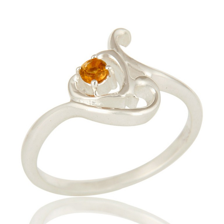 Natural Citrine Gemstone Sterling Silver Designer Ring