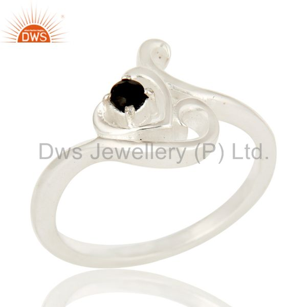 925 Sterling Silver Black Onyx Gemstone Stacking Ring