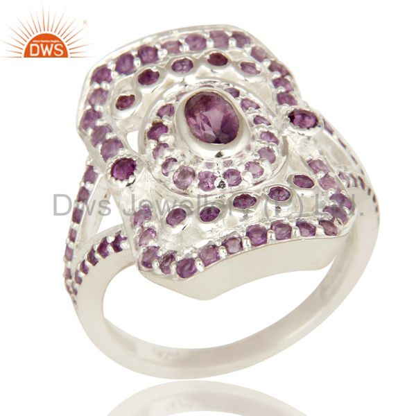 925 Sterling Silver Amethyst Gemstone Split Shank Statement Ring