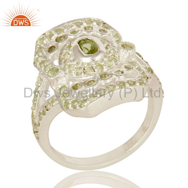 Natural Peridot Gemstone Cluster 925 Sterling Silver Statement Ring