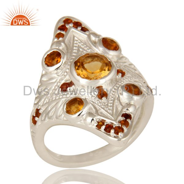 925 Sterling Silver Natural Citrine Gemstone Statement Designer Ring