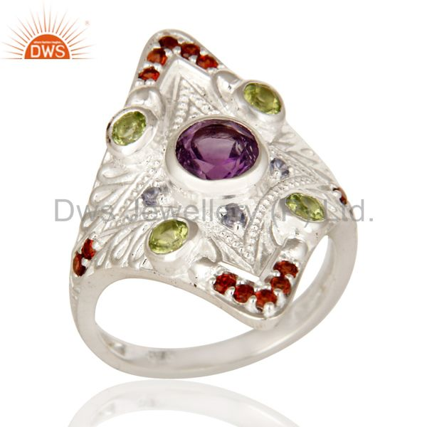 925 Sterling Silver Genuine Multi Colored Gemstone Designer Statement Ring