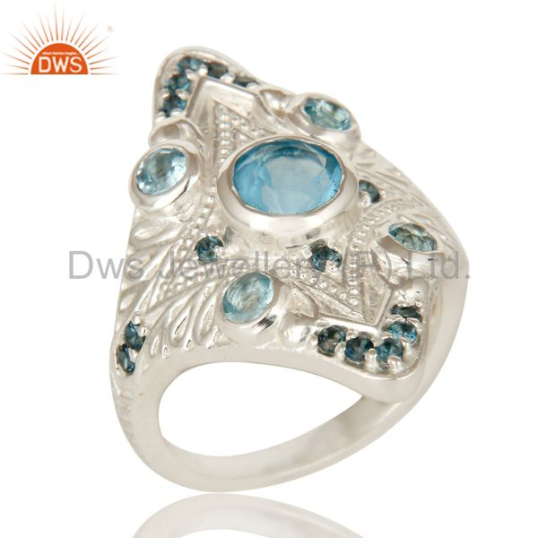 925 Sterling Silver London Blue Topaz Gemstone Cluster Statement Ring
