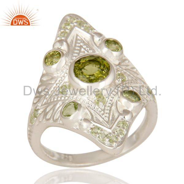 Designer Sterling Silver Peridot Gemstone Womens Statement Ring