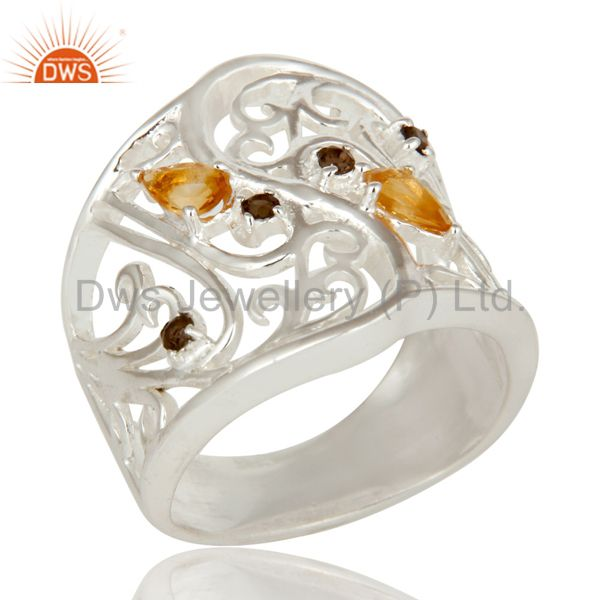 925 Sterling Silver Smoky Quartz And Citrine Filigree Design Wide Band Ring