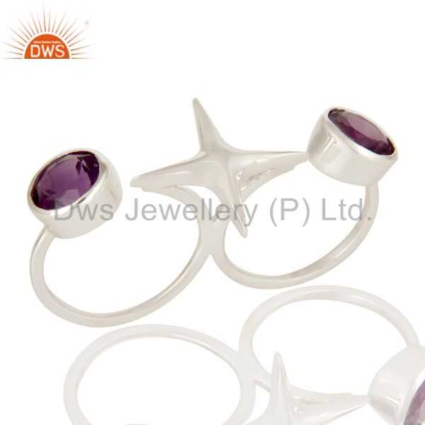 HIgh Polish Sterling Silver Amethyst Gemstone Double Finger Open Ring