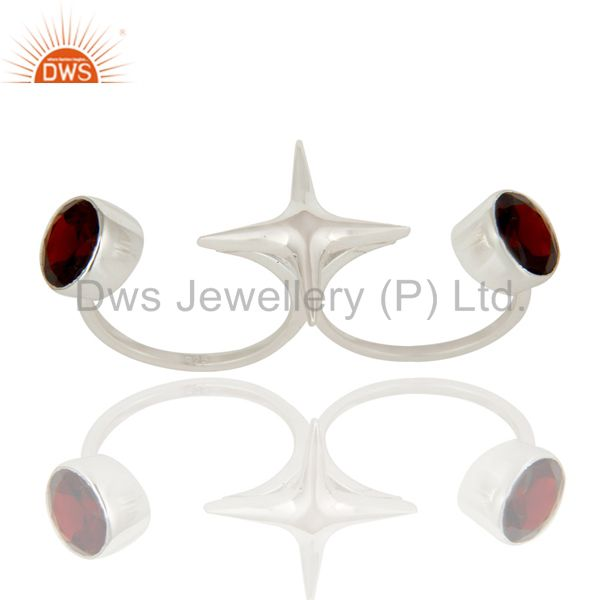 High Finish Sterling Silver Garnet Gemstone Star Double Finger Ring