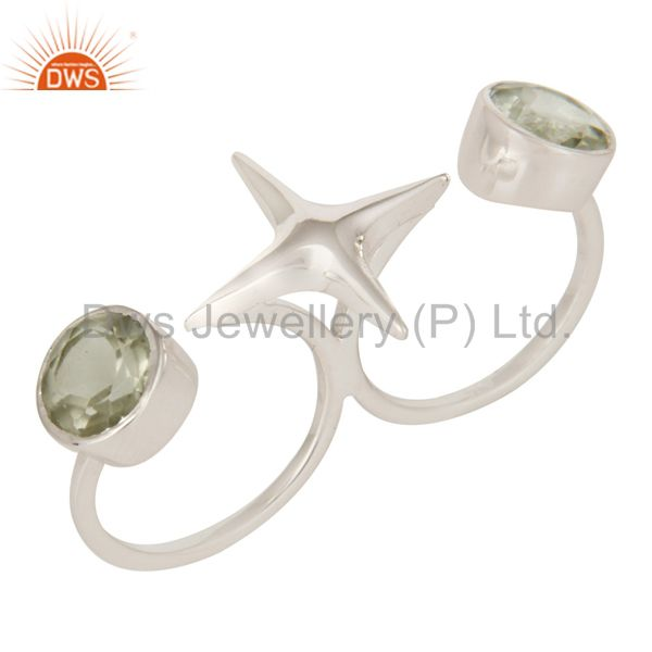 925 Sterling Silver Green Amethyst Star Design Double Finger Ring