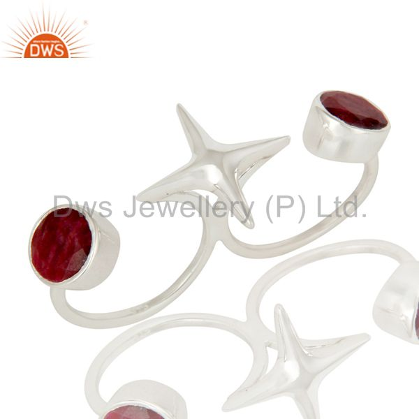 925 Sterling Silver Ruby Gemstone Double Finger Star Ring