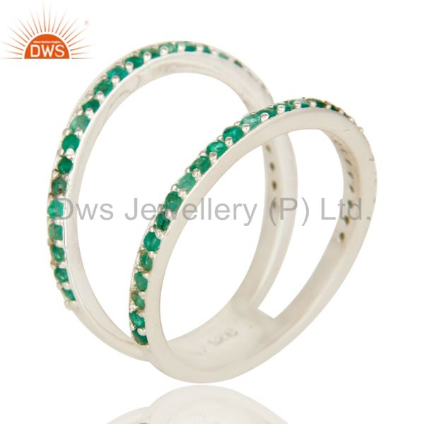 925 Sterling Silver Natural Emerald Halo Split Shank Engagement Ring