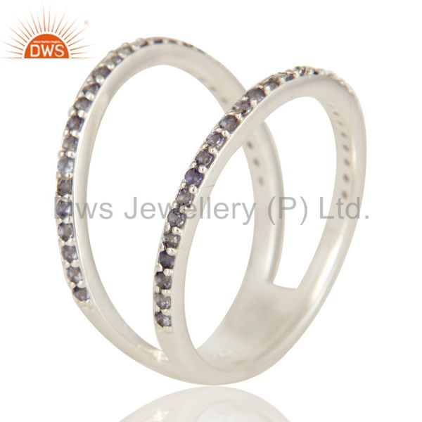 925 Sterling Silver Iolite Gemstone Cut Out  Double Band Ring