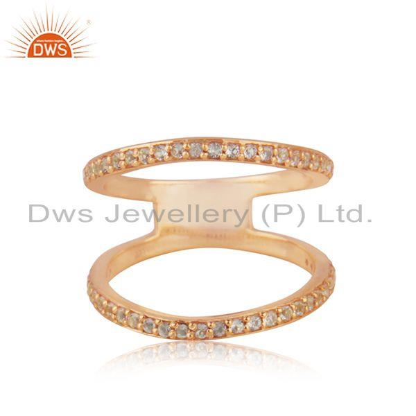 Designer Rose Gold Plated Silver White Topaz Ring Jewelry Manufacturer