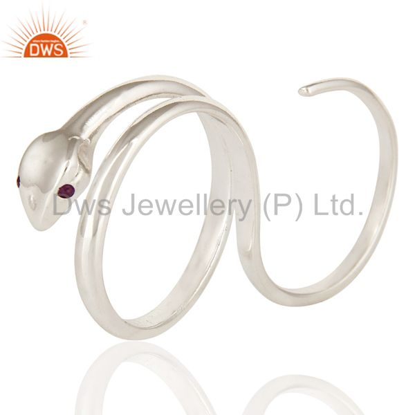 Amethyst Gemstone High Finished Sterling Silver Adjustable Two Finger Snake Ring