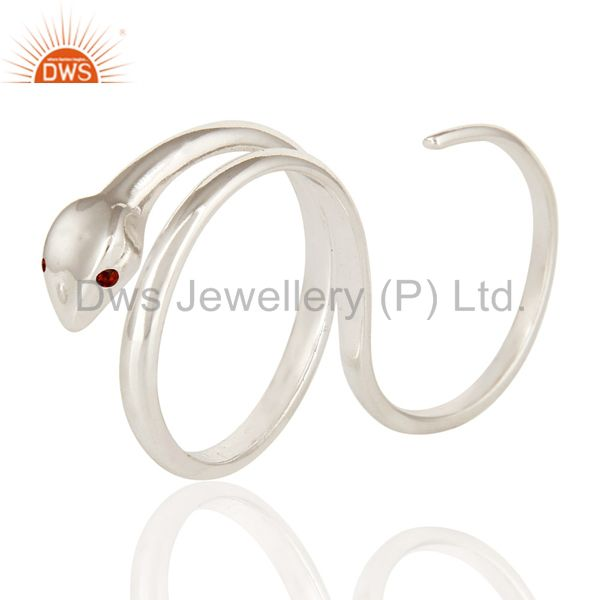 Garnet Gemstone High Polished Sterling Silver Two Finger Adjustable Snake Ring