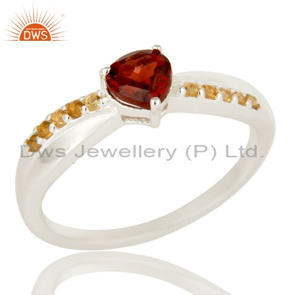 925 Sterling Silver Garnet And Citrine Trillion Cut Halo Ring