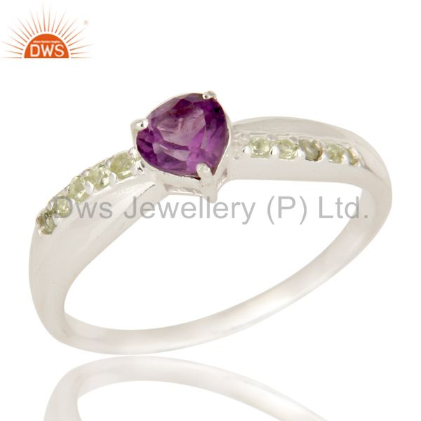 High Polish 925 Sterling Silver Amethyst And Peridot Halo Style Solitaire Ring