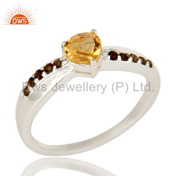 925 Sterling Silver Heart Cut Citrine And Smoky Quartz Prong Set Stack Ring