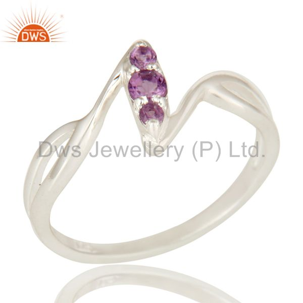 925 Sterling Silver Amethyst Gemstone Statement Stacking Ring