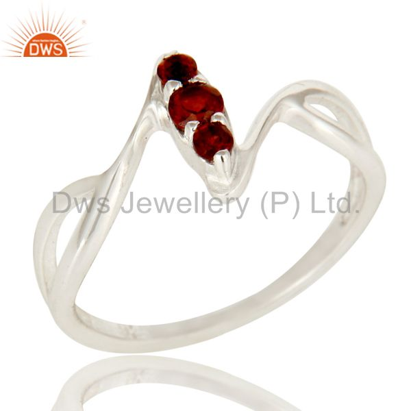 925 Sterling Silver Garnet Gemstone Statement Split Shank Stack Ring