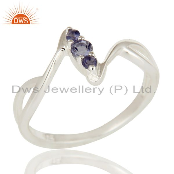 Natural iolite Round Cut 925 Sterling Silver Fine Gemstone Ring For Womens