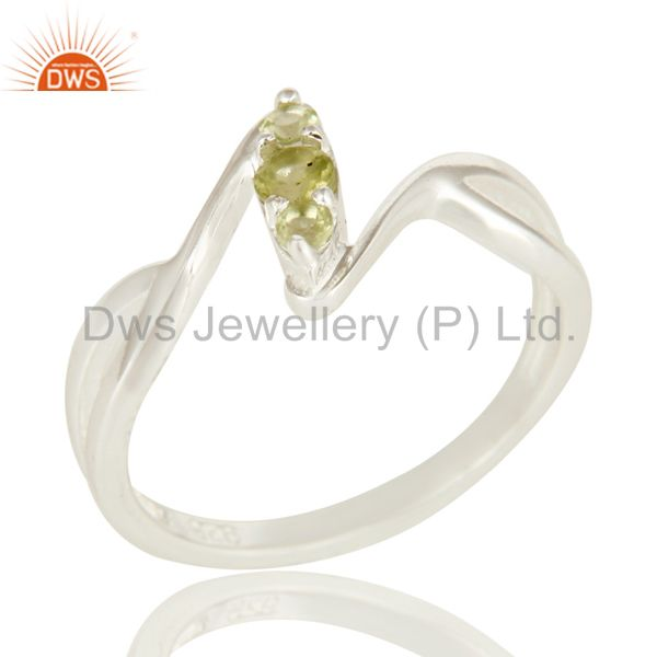 925 Sterling Silver Peridot Gemstone Split Shank Statement Ring