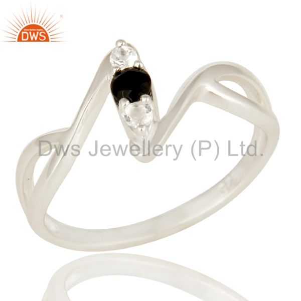 Black Onyx And White Topaz Sterling Silver Split Shank Statement Ring