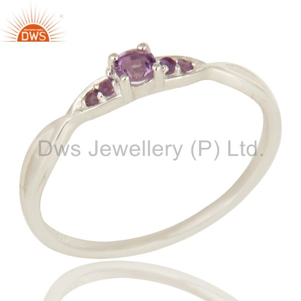 Natural Amethyst Gemstone 925 Sterling Silver Genuine Stacking Ring