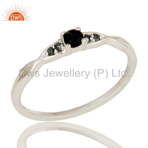 Black Onyx And White Topaz Gemstone Sterling Silver Stacking Ring