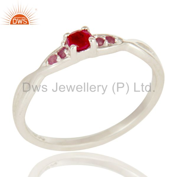 925 Sterling Silver Natural Ruby Gemstone Stacking Ring