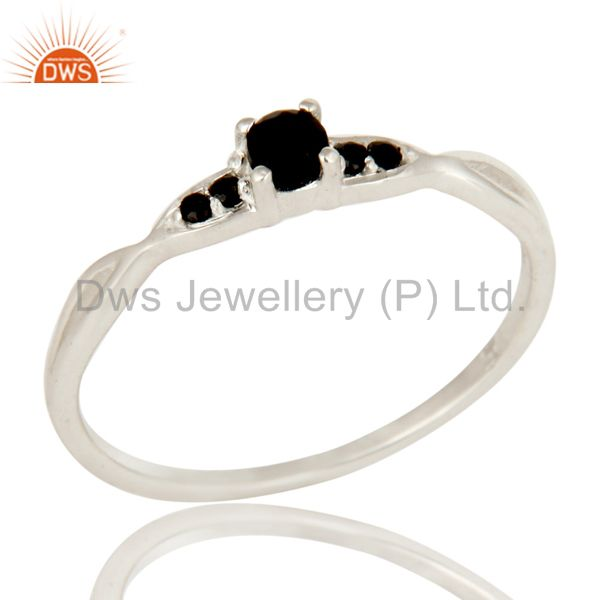 925 Sterling Silver Black Onyx Round Cut Gemstone Stacking Ring