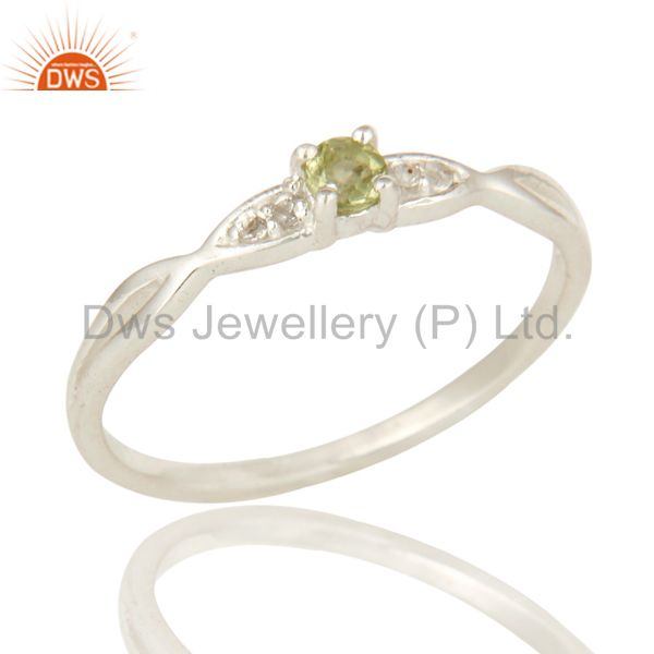 Natural Peridot And White Topaz Sterling Silver Cluster Gemstone Ring