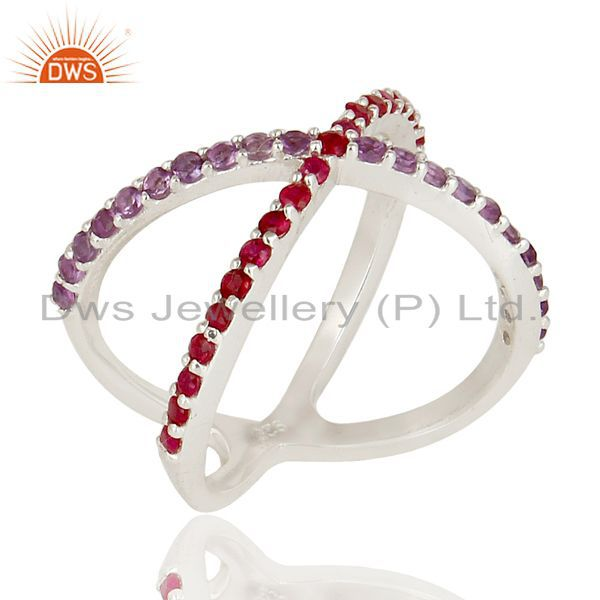 Handmade 925 Sterling Silver Amethyst & Ruby Criss-Cross X Ring
