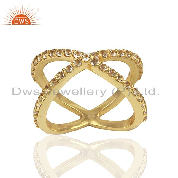 Criss Cross Gold Plated 925 Silver White Topaz X Ring Manufacturer
