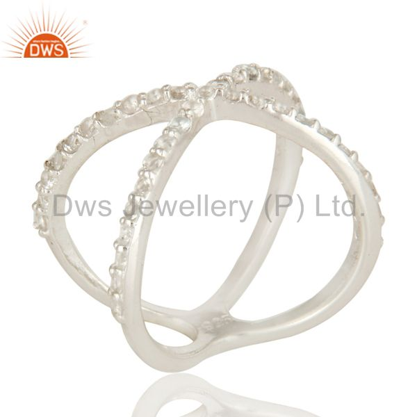 High Finish Sterling Silver White Topaz Gemstone Criss Cross X Ring