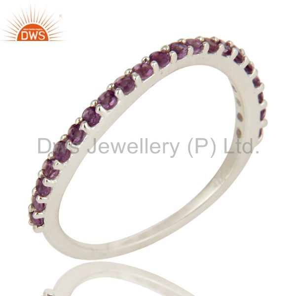 925 Sterling Silver Amethyst Gemstone Half  Eternity Engagement Ring
