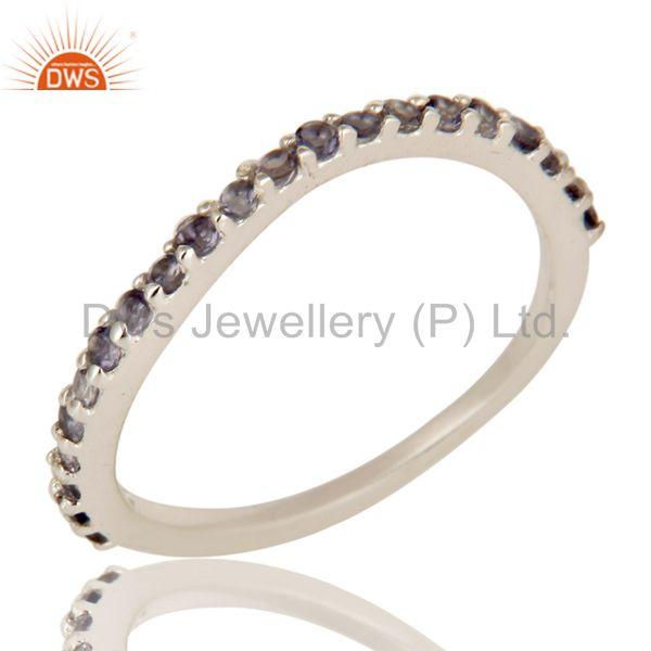 925 Sterling Silver Iolite Gemstone Half Eternity Wedding Anniversary Band Ring