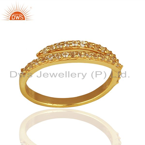 Handmade Gold Plated 925 Silver White Topaz Midi Rings Suppliers