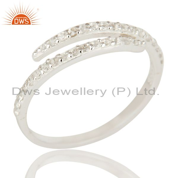 925 Solid Sterling Silver White Topaz Eternity Halo Adjustable Ring