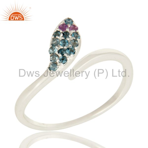 925 Sterling Silver Amethyst And Blue Topaz Snake Design Adjustable Ring