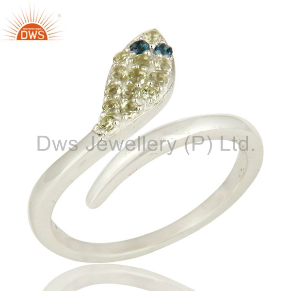 925 Sterling Silver Peridot Gemstone Snake Design Ring With Blue Topaz