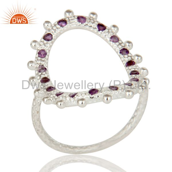 925 Sterling Silver Purple Amethyst Gemstone Modern Eternity Oval Cutout Ring