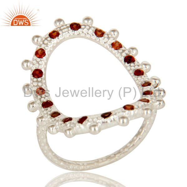 925 Sterling Silver Garnet Gemstone Hammered Oval Cutout Open Statement Ring