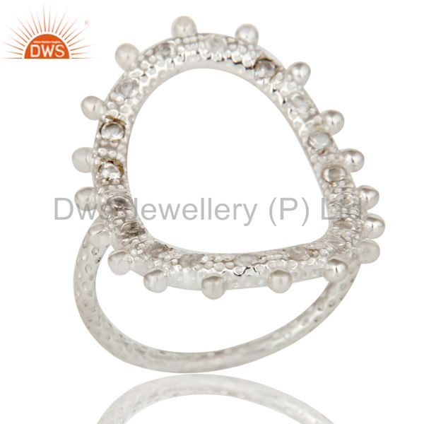 925 Sterling Silver Oval Cutout Statement Ring With White Topaz Gemstone