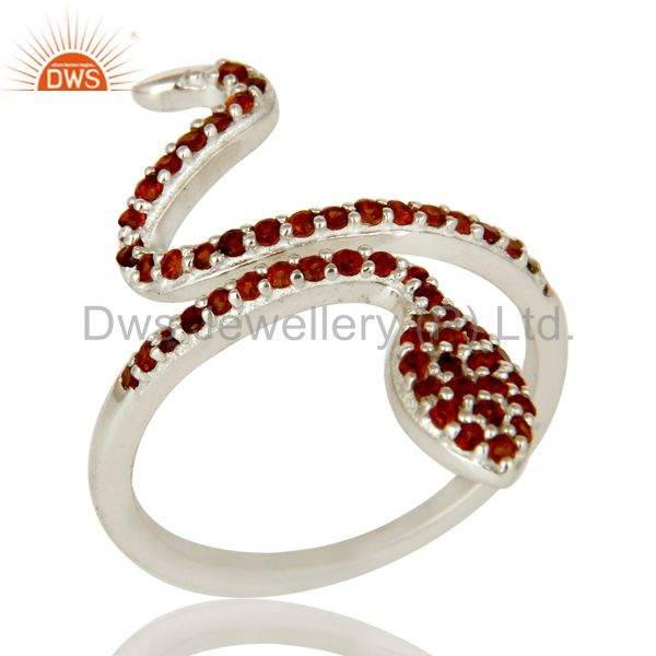 925 Sterling Silver Pave Set Garnet Gemstone Snake Designer Adjustable Ring