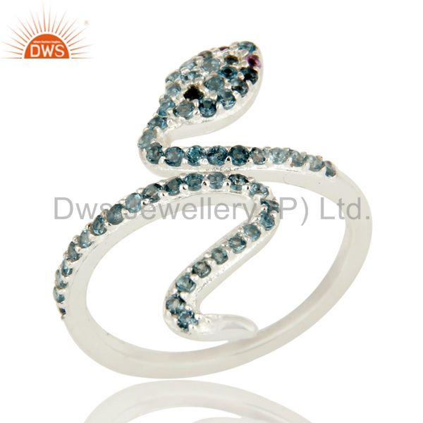 925 Sterling Silver Amethyst And Blue Topaz Gemstone Snake Adjustable Ring